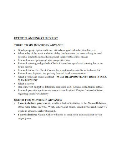 event month planning logistics checklist template