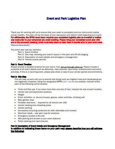 event park logistics plan template
