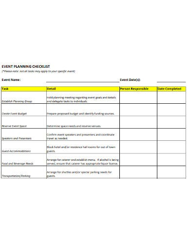 event planning logistics checklist template