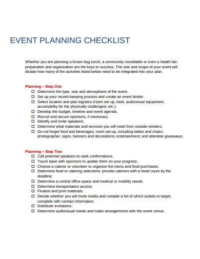 event planning logistics steps checklist template