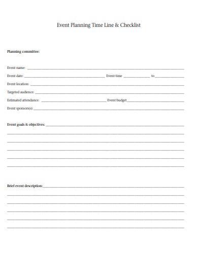 event planning time line logistics checklist