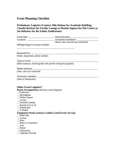 event preliminary logistics planning checklist