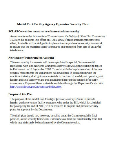 facility agency operator security plan