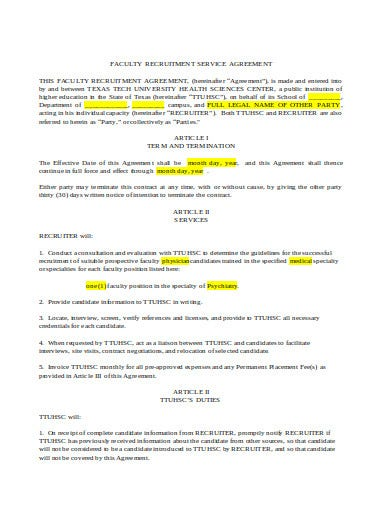 faculty recruitment services agreement template