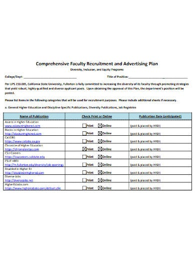 faculty recruitment and advertising diversity plan