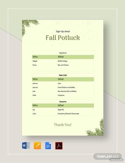 fall potluck signup sheet template
