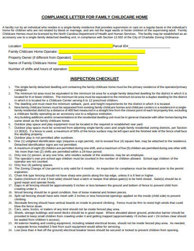 family child care inspection checklist