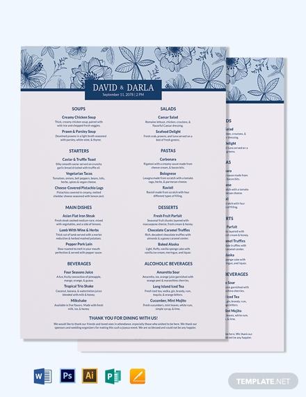 fancy wedding menu template