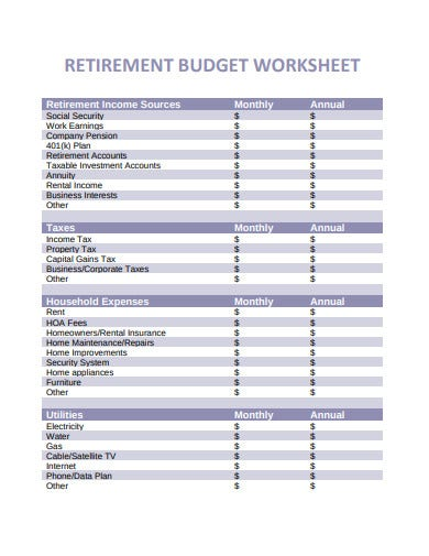 fidelity retirement budget worksheet