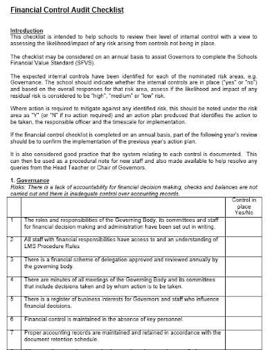 financial control audit checklist template