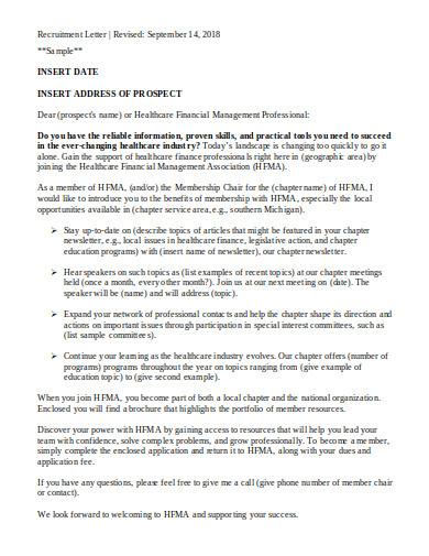 financial management recruitment letter