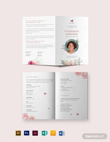 floral eulogy funeral bi fold brochure template