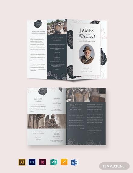 floral funeral mass bi fold brochure template