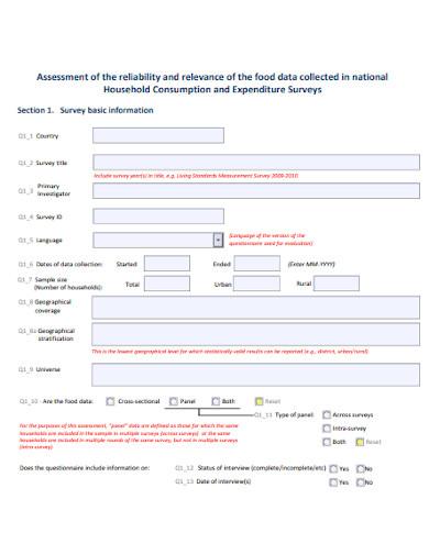 food consumption survey questionnaire example
