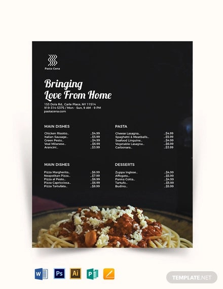 food price list template