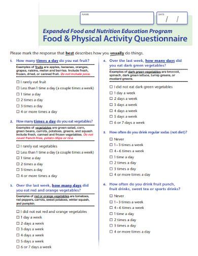 food survey questionnaire in pdf