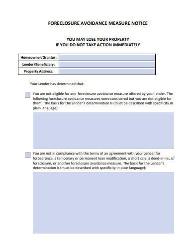 foreclosure avoidance measure notice