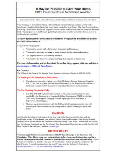 foreclosure mediation notice