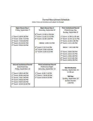 formal recruitment schedule template