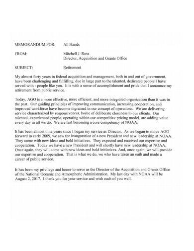 formal retirement memo template