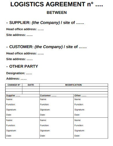 format of logistic agreement template