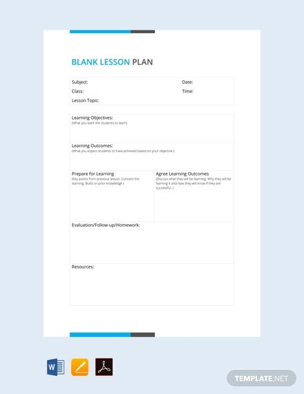free blank lesson plan template