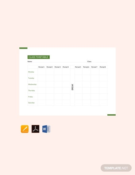 free class timetable template1