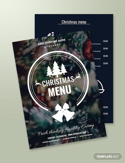 free creative christmas menu template