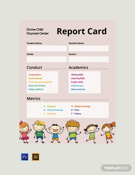 free daycare report card template 440x570 1