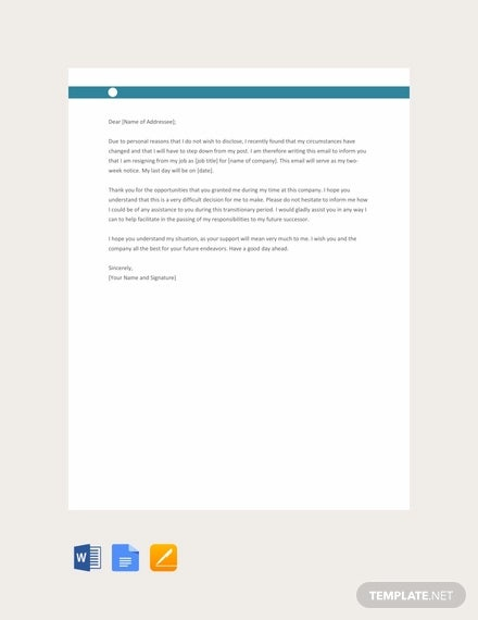 free email resignation letter for personal reasons template