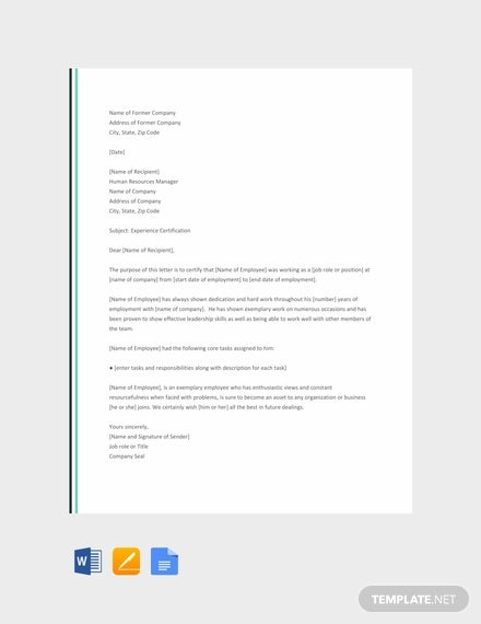 18 Experience Letter Templates In Pdf Free Premium Templates