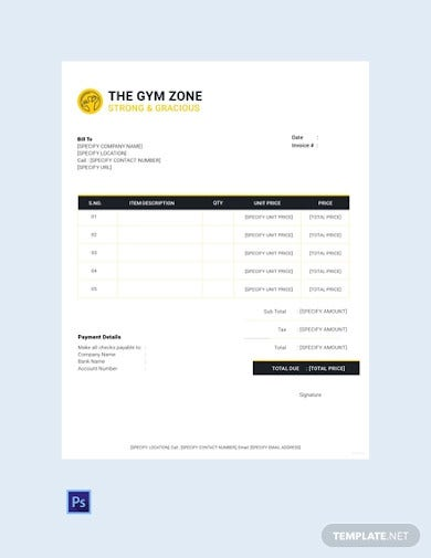 free gym invoice template