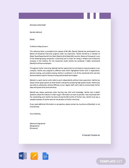 free internship reference letter from employer