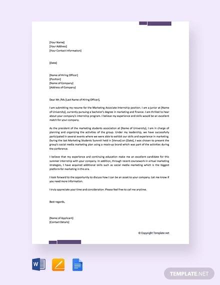 free job application letter for internship