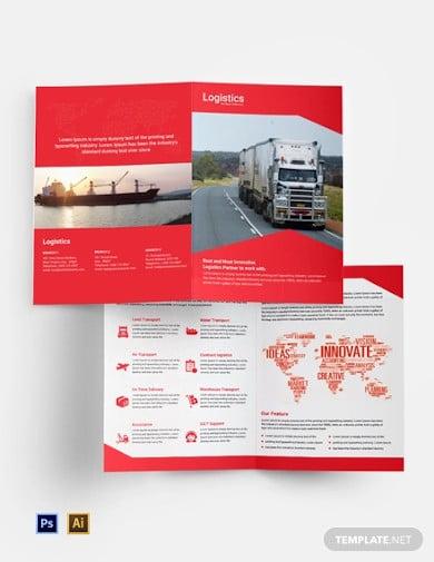free logistics services bi fold brochure template