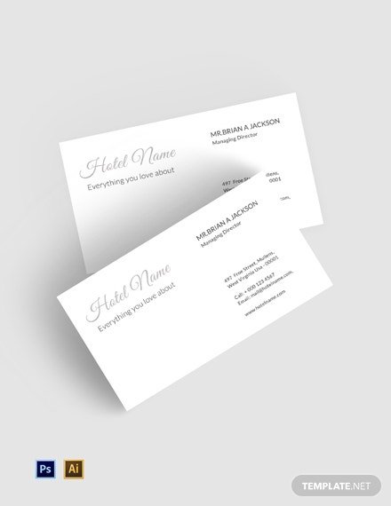 free luxury hotel business card