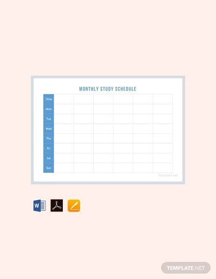 free monthly study schedule template