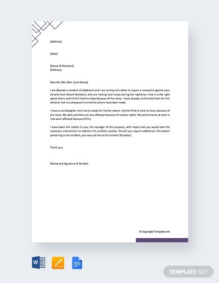 free noise complaint letter to property manager