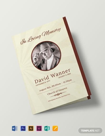 free obituary bi fold brochure template