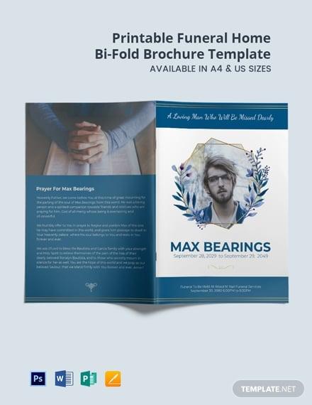 free printable funeral home bi fold brochure template