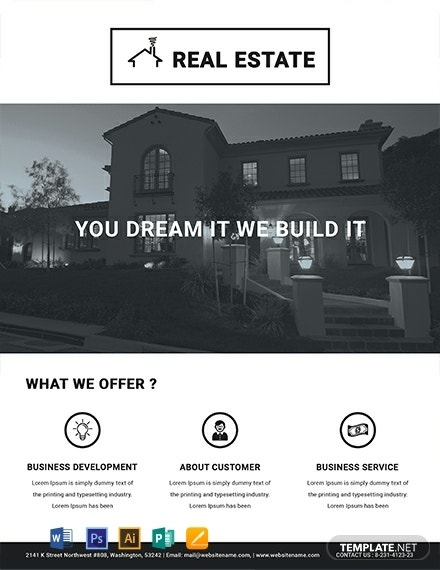 free printable real estate flyer template