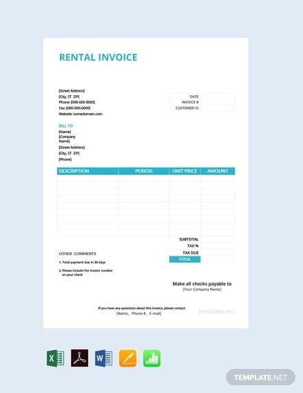 free rental invoice template
