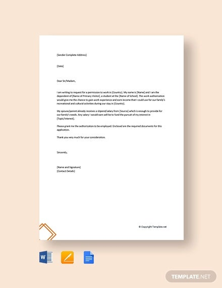 free request letter for work permission