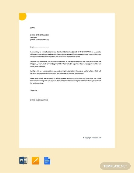 free resignation letter for personal family reasons