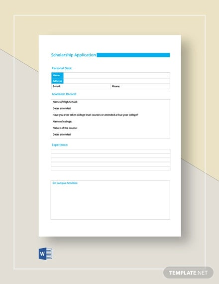 free scholarship application form template