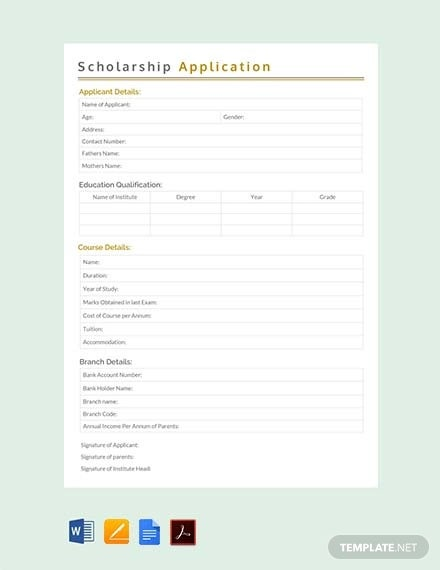 free scholarship application template