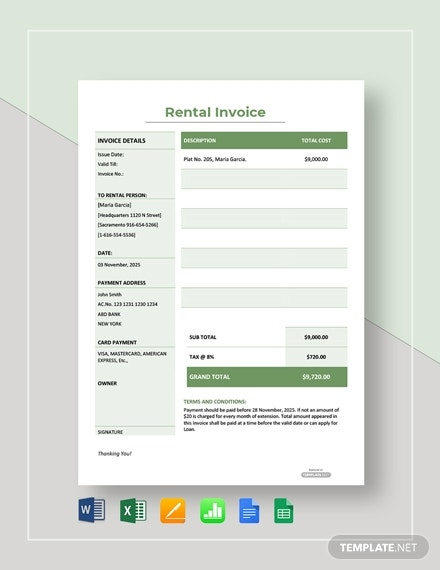 free simple rental invoice template