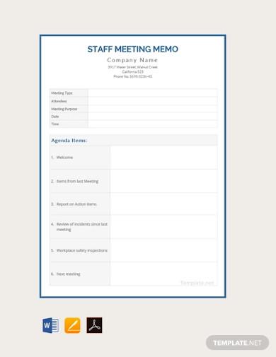 free staff meeting memo template