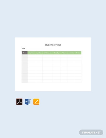 free study timetable template