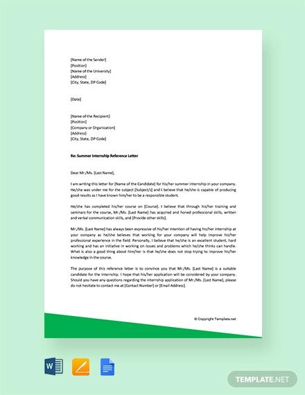 free summer internship reference letter